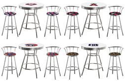 MLB White Bar Table Set Chrome Bar Stools w/Backrest Team Lo