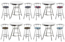 MLB White Chrome Bar Table Set 3PC Backrest Stools Team Fabr