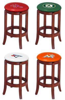 "MLB Bar Stool 24"" Tall Cherry Finish Swivel Seat w/Colored V"