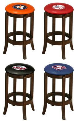 "Bar Stool Wood Espresso Finish 29"" Tall with MLB Team Logo D"