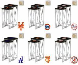 MLB Nesting End Table Set Black Laminate w/Chrome and Team L