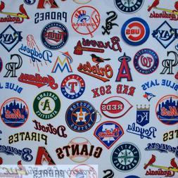 BonEful FABRIC FQ Cotton Quilt White Red Blue Baseball Teams
