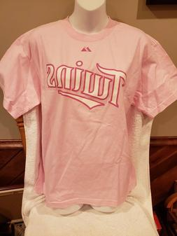 CUTE Minnesota Twins Joe Mauer Adult Lg Pink Majestic Jersey