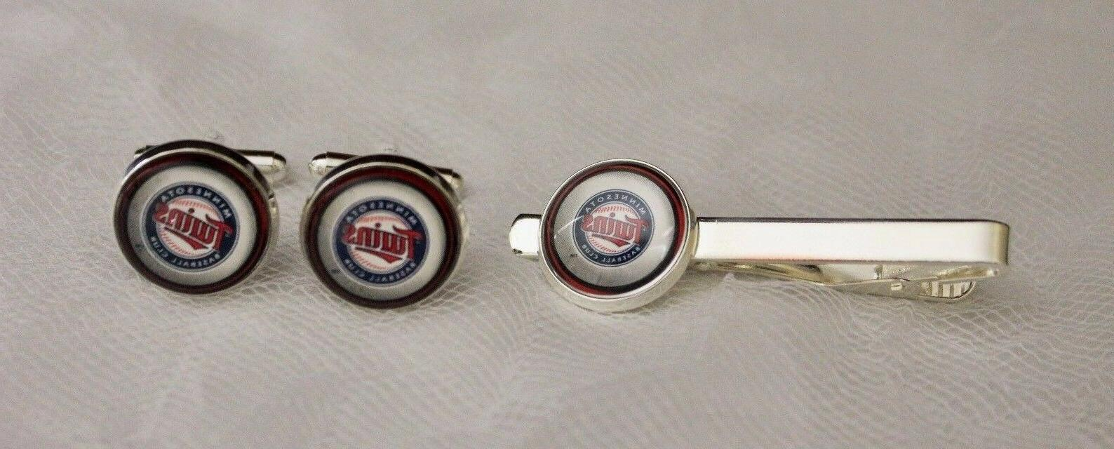 minnesota twins cuff links and tie clip