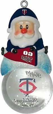 MINNESOTA TWINS MLB Snow Globe Santa Ornament