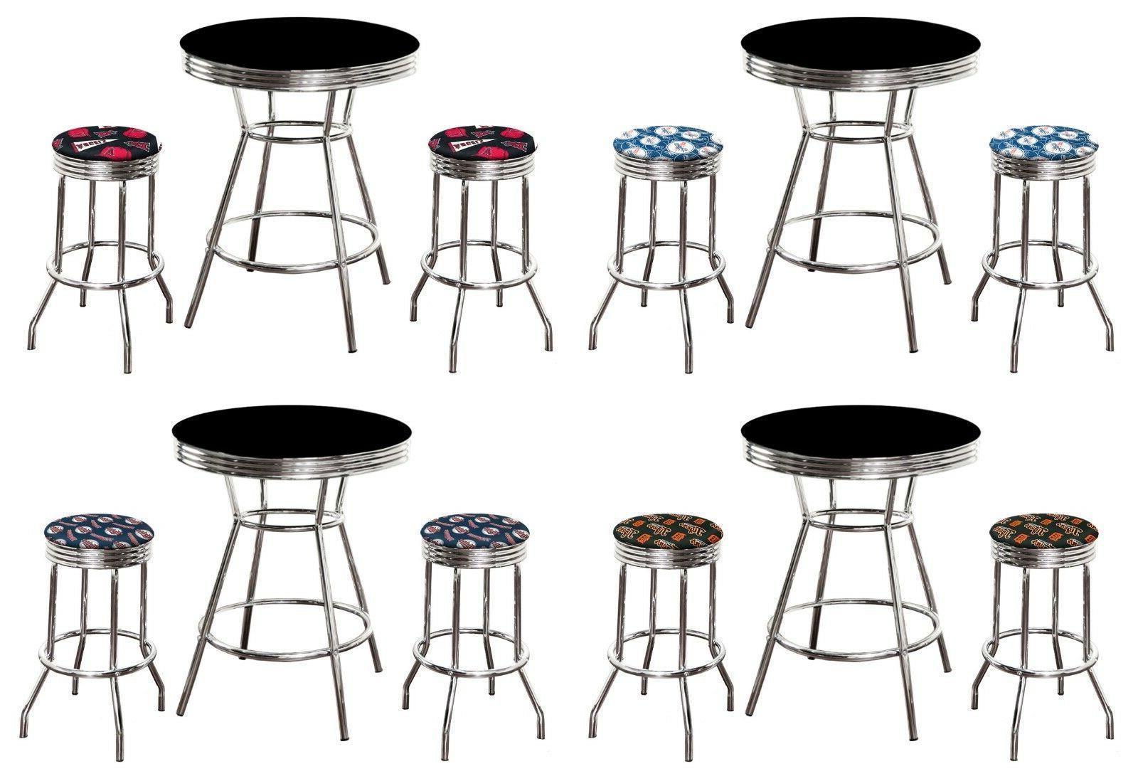 mlb black and chrome metal bar table