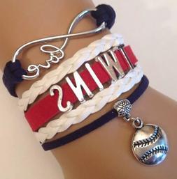Minnesota Twins Leather Baseball Bracelet Charm Quality Fast