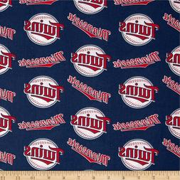 Minnesota Twins Fabric MLB  Baseball Cotton New  Red White