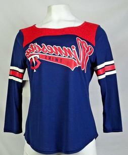 Minnesota Twins GIII Women's Blue Long Sleeve Scoop Neck T-S
