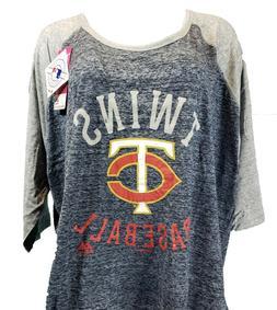 Minnesota Twins MLB Majestic 3/4 Raglan T-Shirt Women's Blue
