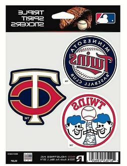Minnesota Twins MLB Triple Spirit Stickers / Decals  3 Pack