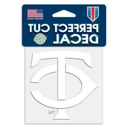 """MINNESOTA TWINS WHITE VINYL PERFECT CUT DECAL 4""""X4"""" FOR WIND"""