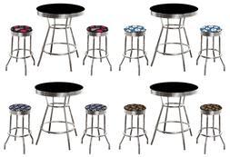 MLB Black and Chrome 3PC Bar Table Set w/Team Fabric Covered