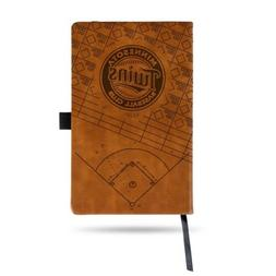 MLB Minnesota Twins Laser Engraved Leather Notebook - Brown