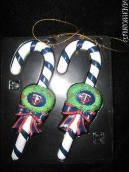 "MLB MINNESOTA TWINS LOGO 5"" RESIN CANDY CANE CHRISTMAS ORNAM"