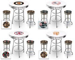 mlb themed chrome metal white bar table