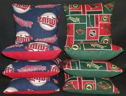 Set Of 8 Minnesota Twins Wild Hockey Cornhole Bean Bags FREE