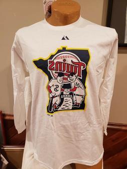 SWEET Minnesota Twins Paul&Minnie Adult Sm Long Sleeve White